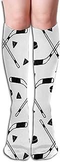 akingstore, Tejido de hockey Tejidos deportivos de hockey Hockey Deporte Hockey sobre hielo Tela para niños Blanco y negro Tubo de mujer Rodilla Muslo Medias altas Calcetines de cosplay 50cm (19.6 pulgadas)