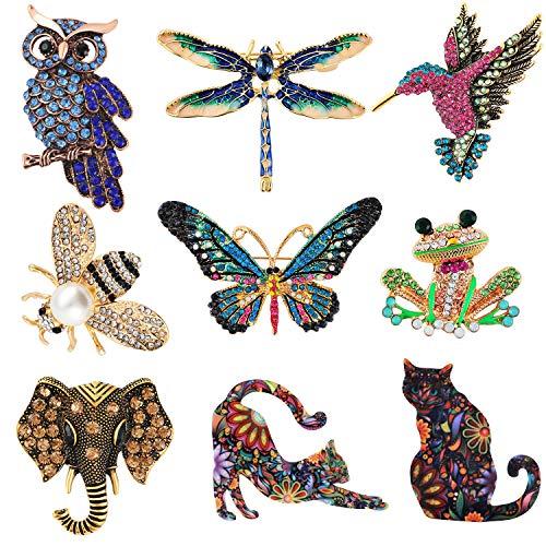 Tacobear 9 Stücke Frauen Brosche Insekt Broschen Damen Kristall Pin Katze Form Brooches für Frauen Kleid Kleidung Dekorative