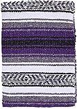 El Paso Designs - Mexican Yoga Blanket - Colorful Falsa Serape - Camping, Picnic, Beach Blanket, Bedding, Car Blanket, Saddle Blanket, Soft Woven Home Decor (Purple)