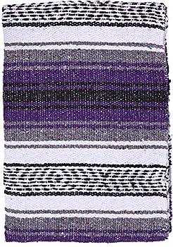 El Paso Designs - Mexican Yoga Blanket - Colorful Falsa Serape - Camping Picnic Beach Blanket Bedding Car Blanket Saddle Blanket Soft Woven Home Decor  Purple