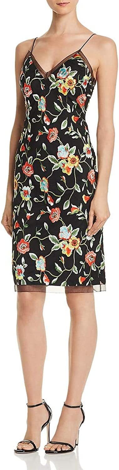 Aidan Mattox Aidan Womens Spaghetti Straps Embroidered Cocktail Dress