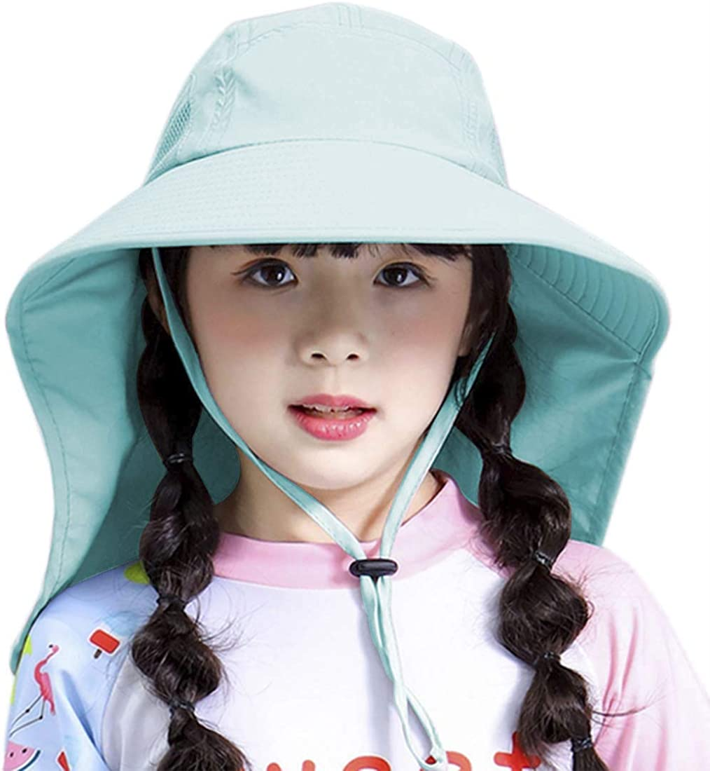 Kids Sun Hat with Neck Protection Toddler Wide Brim UPF 50+ Mesh Bucket Hat Fishing Hats