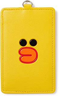LINE FRIENDS Badge Holder - Character Faux Leather ID Card Name Tag Wallet with Neck Strap, Parent