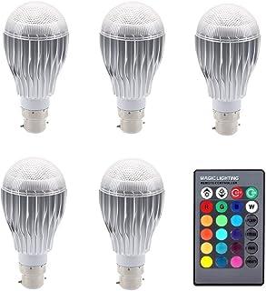 SGJFZD 5PCS RGB LED Lamp 10W 85-265V B22 LED RGB LED Light Bulb 120V 220V LED Soptlight Remote Control 16 Colors Changeabl...