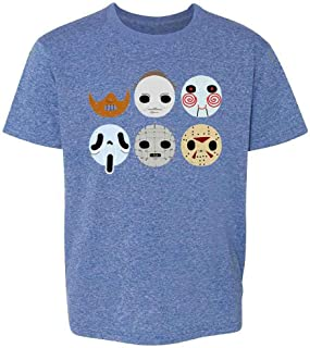 Horror Masks Monster Scary Movie Halloween Costume Youth Kids Girl Boy T-Shirt