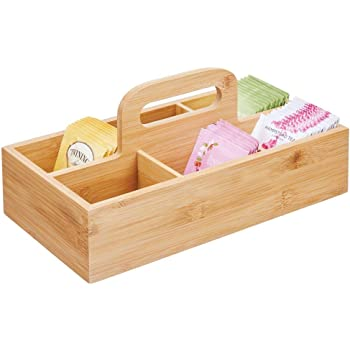 mDesign Organizador de Cocina de Madera – Práctica Caja de almacenaje para Cocina y despensa Cesta con asa para Guardar té, café, Especias y Otros Alimentos – Color bambú: Amazon.es: Hogar