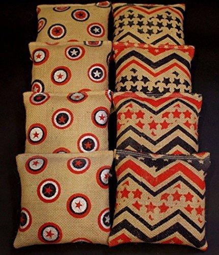 BackYardGamesUSA Burlap Natural Canvas Wedding Red and Blue 8 ACA Regulation Cornhole Game Bags