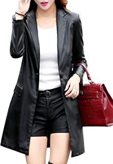 Tanming Womens Casual Lapel Long Leather Jacket Suit Coat Windbreaker Trench Coat