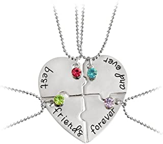 Best Friend Forever and Ever Rhinestone BFF Necklace Heart Shape Pendant Friendship Puzzle Stitching Necklace
