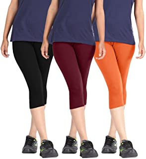 Rooliums Woman Super Fine Cotton Capri Combo (Brand Factory Outlet) Pack Of 3 (Black, Maroon and Orange) - Free Size