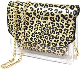 Me Plus Women Fashion 2 Pieces Set Clear PVC Leopard Print Small Cross Body Clutch Pouch