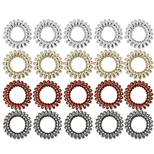 20 Unids Anillo de Pelo Elásticas, Cintas de Goma para el Pelo en Espiral de Plástico, Ponytail Sostenedor de Accesorios para Mujeres y Niñas, 4 Colores
