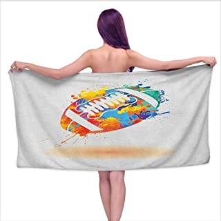 Andasrew Luxury Bath Towels Sports,Rugby Ball with Rainbow Brush Effects Filled Covered with Colors Sports Sign Leisure, Multicolor,W10 xL39 for Youth Girls Cotton