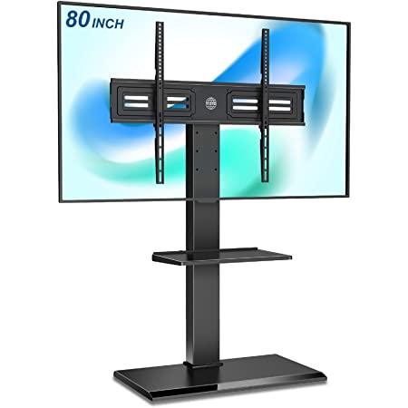 FITUEYES Floor TV Stand with Swivel Mount for 50-80 Inch Large LCD/LED TVs, Tall Corner TV Stands for Bedroom and Living Room, Easy to Assemble, Hold Up to 110 lbs,Black,TT208001MB