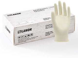 LANON Latex Disposable Gloves, Powder Free, Food Grade, High Elastic, Ambidextrous, Anti-slip, Textured, 5 mil, Box of 100, Small