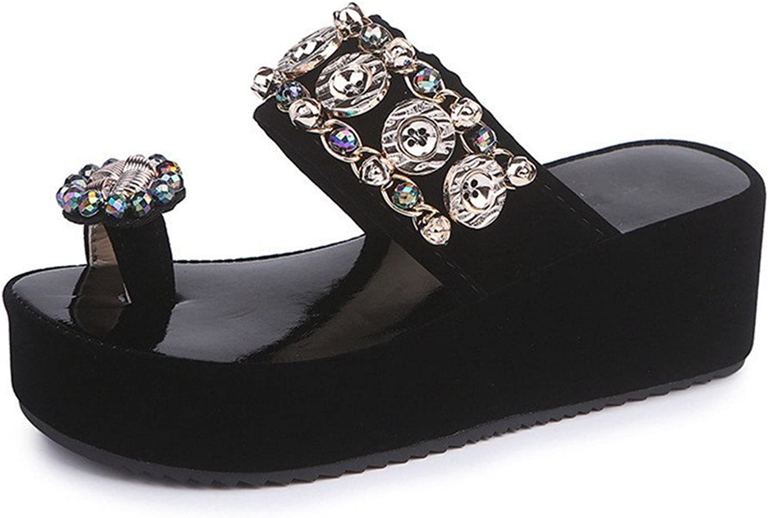 Wedges Flip Flops Flat Sandals for Women,Summer Rhinestone Ring Toe Slipper Beach shoes