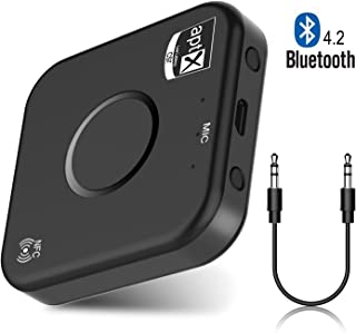 Bluetooth Receiver, Elegant Choise Wireless Bluetooth Audio Adapter Dual 2x3.5mm Aux Stereo Output for TV/Home/Car Stereo System,aptX LL,Bluetooth 4.2,NFC-Enabled,A2DP (Black)