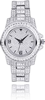 GUGY Mens Iced Out Watch with Quartz Movement Crystal Rhinestone Diamond Watches for Men Stainless Steel Wristwatch
