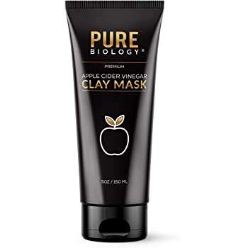 Pure Biology Clay Face Mask – Apple Cider Vinegar, Bentonite Clay, Charcoal, Collagen, Retinol – Exfoliate & Cleanse Pores, Acne, Blackheads, Tighten Wrinkles, Anti Aging Skin Care for Men & Women