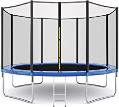 Lookvv 12FT Trampoline with Safety Enclosure Net,Ladder Trampoline for Kids,Jumping Mat and Spring Cover Padding Outdoor T...