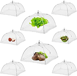 NEPAK 8 Pack 17 inches Large Pop-Up Mesh Food Cover Tent Umbrella,Camping Food Net Cover,Reusable and Collapsible, for Outdoors,Screen Tents, Parties Picnics, BBQs,Keep Bugs And Flies Away From Food