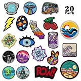 20 Pieces Assorted Iron-on Patches Set Embroidered Applique Patches Woven Label Patches