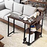 Tangkula 360° Free Rotating Sofa Side Table, Mobile End Table with 2-Tier Storage Shelves, Movable Laptop Table with Sturdy Metal Frame, Couch Side Table Snack Table for Home Office (Walnut)