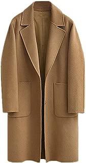 JIANLANPTT Classic Women's Lapel Wool Blend Long Winter Fall Warm Coat Overcoat