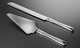 Grace Cake Knife and Server Set - Silver Wedding Cake Knife and Server Set That Features 3 Crystals Embedded on the Handles   Use Cake and Knife Wedding Server for Weddings, Anniversaries or Birthdays