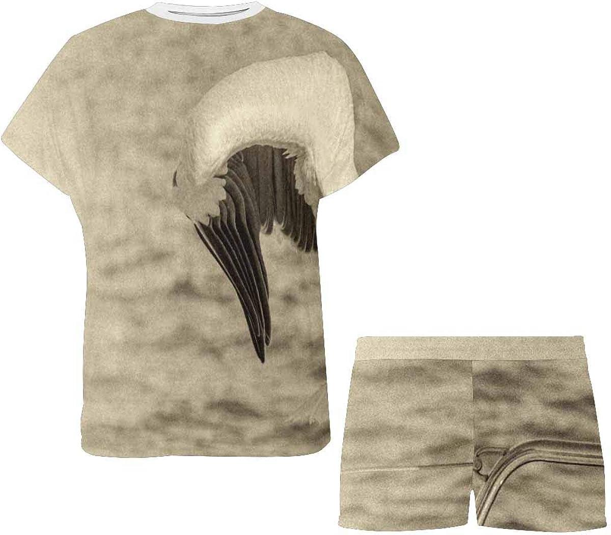 INTERESTPRINT White Pelican Catches Fish Women's Breathable 2 Piece Shorts Pajama Sleepwear Set