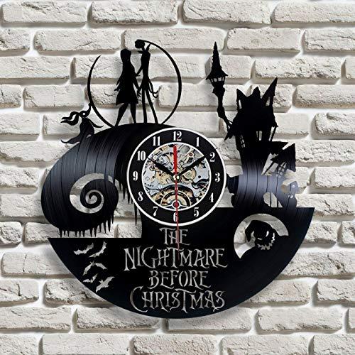 wtnhz LED Reloj de Pared de Vinilo Colorido Reloj de Pared con Disco de Vinilo Vintage con iluminación LED 7 Pesadilla Antes de Navidad Reloj de Pared LED Reloj de Pared artístico decoración del h