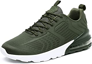Ranipobo Sport Shoes for Men Breathable Mesh Outdoor Running Sneakers Anti-Slip Round Toe Lace Up for Men (Color : Green, Size : 7 UK)