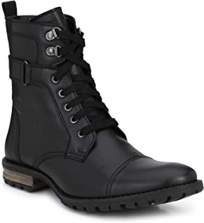 Delize Black/Tan Syth.Leather Rugged Side Zipper High Ankle Men Boots