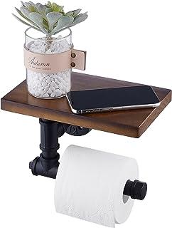 Amazon Brand - Umi Porte Papier Toilette avec Étagère Industriel Derouleur Papier Toilette Mural Noir Mat Porte Rouleau Pa...