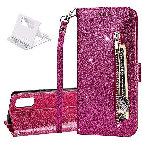 Yobby Glitzer Brieftasche Hülle für Samsung Galaxy A31 Hülle Rose Rot Mädchen Handyhülle,Bling Slim Reißverschluss Leder Schutzhülle Flipcase [Stand-Funktion] mit Kartenfach und Handschlaufe