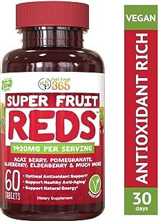 SuperFruit Reds Antioxidant Supplement (30 Day Supply)   Powerful Vital Superfood Anti-Aging* Antioxidant Blend   Acai Berry, Goji Berry, Noni, Mangosteen, Pomegranate, Blueberry, Trans Resveratrol