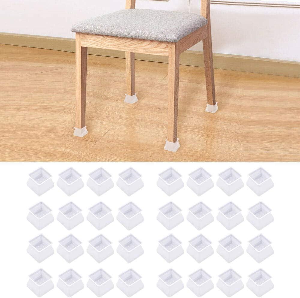 panthem Silikon Stuhlbeinkappen Eckig 32PCS Tische St/ühle F/ü/ße Pads Kappen Stuhlkappen Stuhlbeinschutz Verhindert Kratzer und Ger/äusche f/ür B/öden Schutz f/ür Tischbein 3.5cm bis 4.5cm