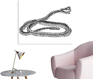 HouseDecor Reptile Wallpaper Sticker Black and White Reptile Skeleton Illustration Moving on The Ground Wild Exotic Snake Personalized Wall Decals W36 xL24