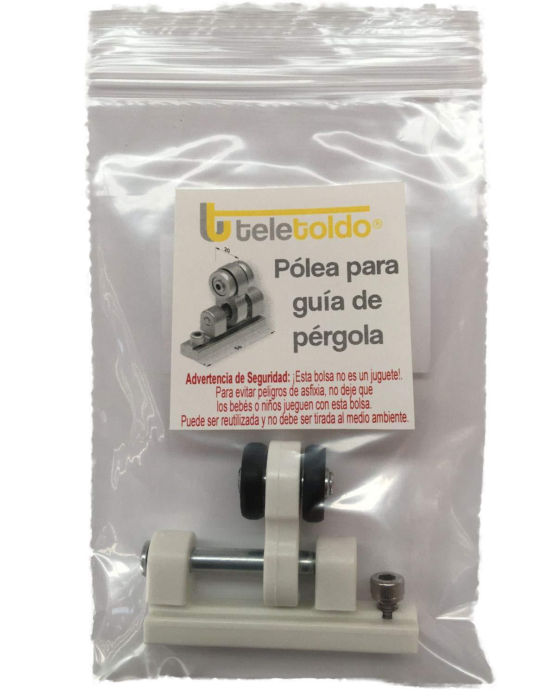 Teletoldo Polea para guía de pérgola (Repuesto) (Blanco): Amazon ...