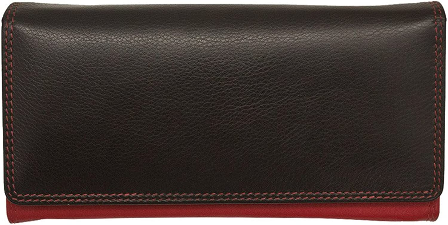 Ili Leather 7447 Wallet with RFID (Black  Red)