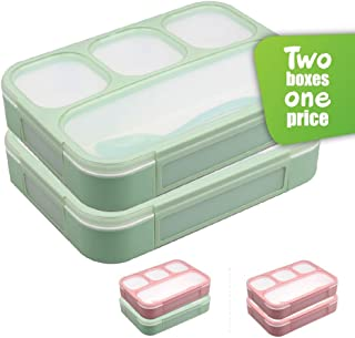 Leakproof Bento Lunchboxes, Lunch Containers 4 Compartments (2-Pack), no smells, food prep, meal planning, Microwave and Freezer Safe - FDA Approved and BPA Free by New Tomorrow