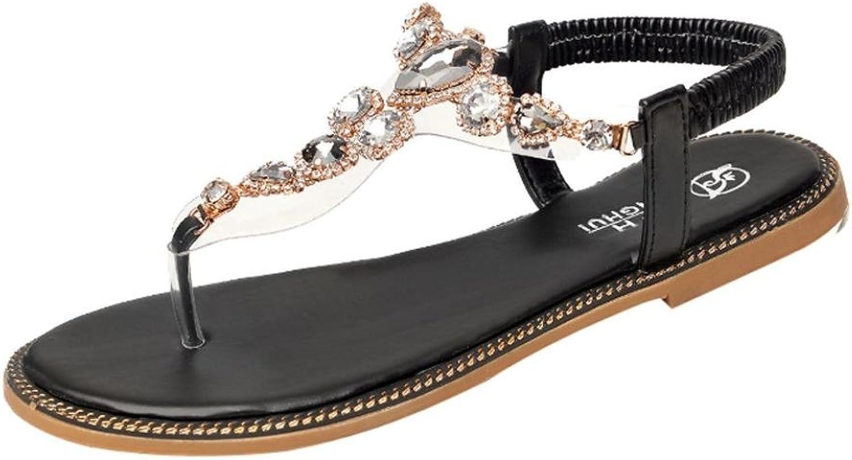 Fheaven (TM) Women Sweet Rhinestone Clip Toe Flat Heel Anti Skidding Beach shoes Sandals Slipper