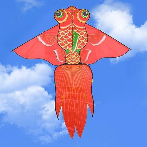 Goldfish-Form-Drachen, rote Größe Brise einfach zu fliegen-Drachen-festlicher Küstenstrand-Spielraum-Drachen-Fliegen-Spielzeug, 150  164CM (Größe   150  164CM)