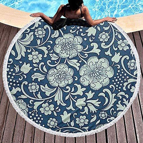 Rundes Strandtuch, altes gedrucktes blaues Hippie-glückliches Jugendhandtuch Extra große sandfeste Decke Yogamatte mit Quasten