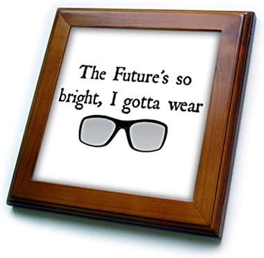 """3dRose ft_201897_1 The Futures So Bright I Gotta Wear Shades Picture of Sunglasses Framed Tile, 8 by 8"""""""