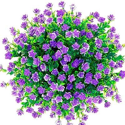 CQURE Artificial Flowers, Fake Flowers Artificial Greenery Plants Eucalyptus Outdoor Bridal Wedding Bouquet for Home Garden Party Wedding Decoration 5 Bunch (Purple)