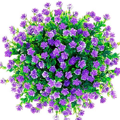 CQURE künstliche Blumen,Unechte Deko Blumen Künstliche Pflanze Grün UV-beständige Eukalyptus kunstblumen Outdoor Braut Hochzeitsblumenstrauß für Haus Garten Blumenschmuck 5 Stück (Lila)