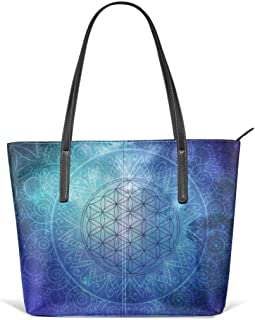 Deep space sacred geomery Leather Tote Large Purse Shoulder Bag Portable Storage HandBags Convenient Shoppers Tote