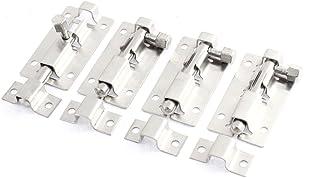 sourcingmap® Pestillo con bombín de acero inoxidable para puerta corredizas de 5cm de largo 4 pcs.