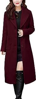 Women's Big Notch Lapel Single Breasted Mid-Long Wool Blend Coat
